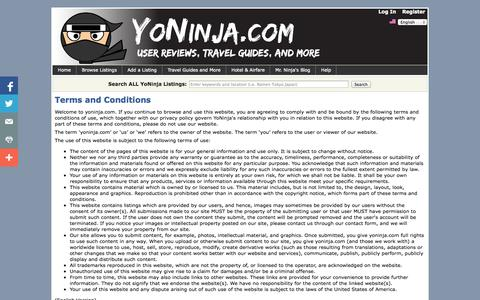 Screenshot of Terms Page yoninja.com - Terms and Conditions | YoNinja - User Reviews, Travel Guides, and More - captured Oct. 7, 2014
