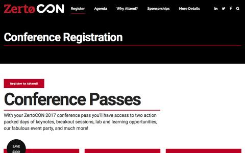 Screenshot of Pricing Page zerto.com - Registration & Conference Pricing | ZertoCON 2017 - captured Dec. 28, 2016