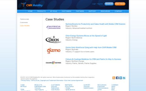 Screenshot of Case Studies Page cwrmobility.com - CWR Mobile CRM for Dynamics CRM 2011 4 3 Online - Case Studies - CWR Mobility. Mobile CRM for Microsoft Dynamics 2011 and 2013 - captured July 19, 2014