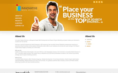 Screenshot of About Page innovativemediasolutions.in - SEO Company in Bangalore for effective Search Engine Optimization - captured Oct. 6, 2014