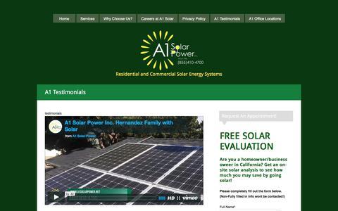Screenshot of Testimonials Page a1solarpower.net - Solar Reviews and Customer Testimonials,  Best Rooftop Solar - captured Nov. 19, 2016
