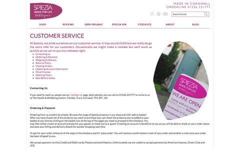Screenshot of Support Page spieziaorganics.com - Customer Service | Spiezia Organics - captured Sept. 23, 2014