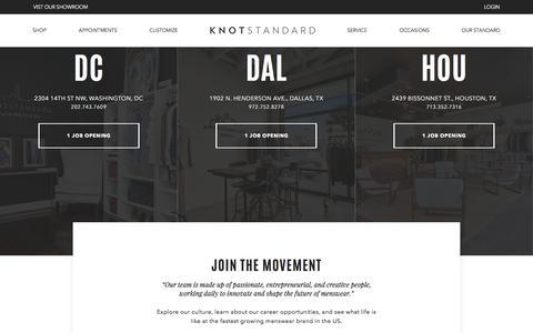 Screenshot of Jobs Page knotstandard.com - Careers @ Knot Standard - captured Sept. 19, 2018