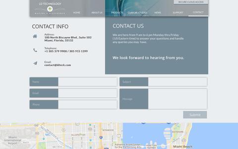 Screenshot of Contact Page ldteck.com - Contact - captured July 8, 2017