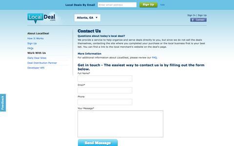 Screenshot of Contact Page localdeal.com - Contact LocalDeal | LocalDeal Daily Deals - captured Oct. 3, 2014