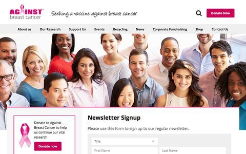 Screenshot of Signup Page againstbreastcancer.org.uk - Newsletter Signup - Against Breast Cancer - captured July 25, 2016