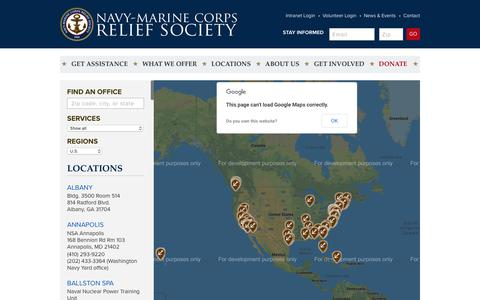 Screenshot of Locations Page nmcrs.org - Locations | NMCRS - captured Oct. 18, 2018