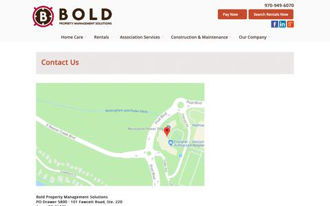 Screenshot of Contact Page boldsolutions.net - Contact Us - Bold Property Management Solutions - captured Sept. 30, 2018