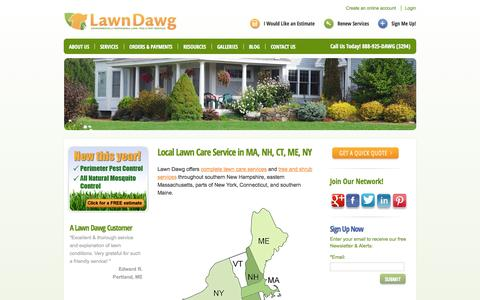 Screenshot of Locations Page lawndawg.com - Local Lawn Care Service in MA, NH, CT, ME, NY - captured Sept. 29, 2014
