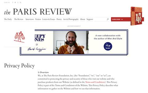 Screenshot of Privacy Page theparisreview.org - Paris Review - Writers, Quotes, Biography, Interviews, Artists - captured Dec. 5, 2016