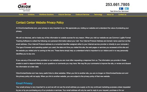 Screenshot of Privacy Page orioncontactcenter.com - Orion Contact Center Services Privacy Policy - captured Oct. 26, 2014