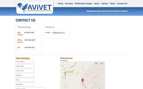 Screenshot of Contact Page avivet.co.nz - Contact Us | Avivet Ltd | Poultry, Fowl, Avian Specialist - captured Nov. 2, 2014