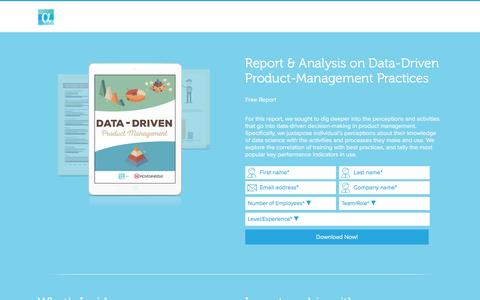 Screenshot of alphahq.com - Data-Driven Product Management Practices - captured Aug. 21, 2016