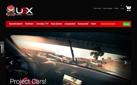 Screenshot of Home Page ugx-shop.com - Racesimulators / Bureaustoelen / Game PC / Consoles / Games - captured Feb. 3, 2016