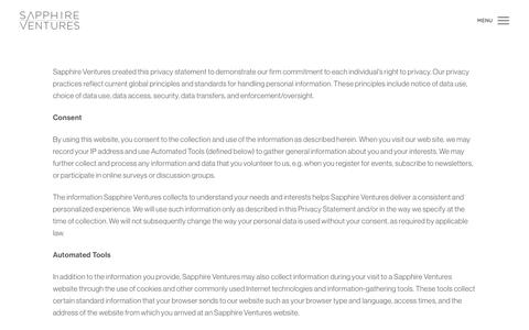 Screenshot of Privacy Page sapphireventures.com - Privacy Policy | Sapphire Ventures - captured May 26, 2017