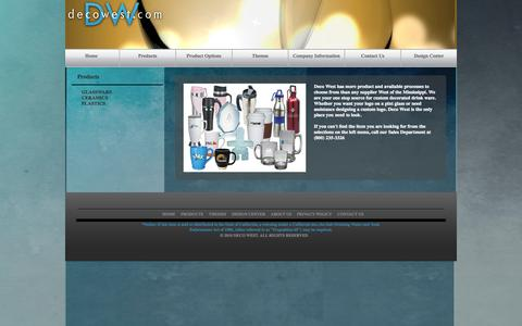 Screenshot of Products Page decowest.com - Custom Decorated Glass, Ceramics and Plastics - captured Sept. 30, 2014