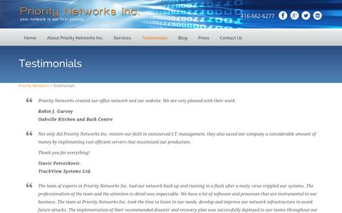 Screenshot of Testimonials Page prioritynetworks.ca - Network Support and Maintenance Solution Provider in The GTA - captured Jan. 31, 2016