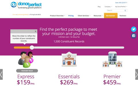 Screenshot of Pricing Page donorperfect.com - Fundraising Software Pricing Guide for DonorPerfect - captured June 5, 2017