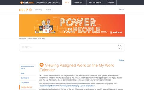Screenshot of Support Page workfront.com - Viewing Assigned Work on the My Work Calendar – Workfront - captured Dec. 29, 2017