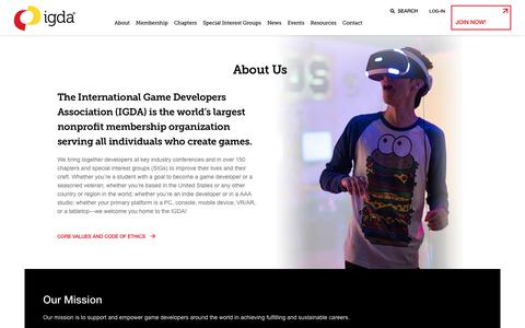 Screenshot of About Page igda.org - About Us – IGDA - captured Dec. 11, 2019