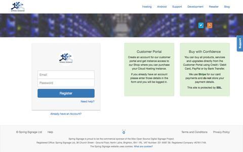Screenshot of Signup Page springsignage.com - Spring Signage Ltd | Customer Portal - captured Feb. 24, 2016