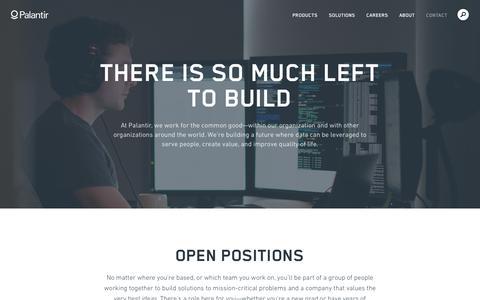 Screenshot of Jobs Page palantir.com - Open Positions | Palantir - captured May 2, 2019