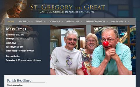 Screenshot of Home Page stgregorynb.org - St. Gregory the Great Catholic Church, North Branch, MN - captured Nov. 16, 2018