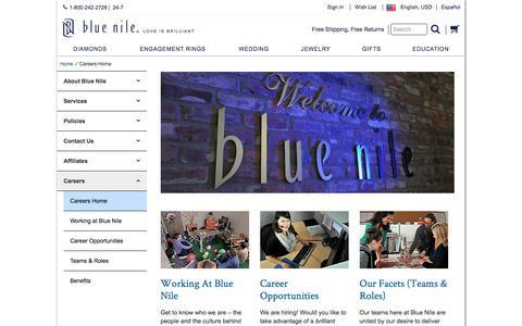 Screenshot of Jobs Page bluenile.com - Careers Home | Blue Nile - captured April 19, 2018
