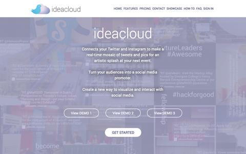 Screenshot of Home Page ideacloud.me - IdeaCloud - Animated Twitter Wall meets Vibrant Instagram Wall - captured Oct. 6, 2014