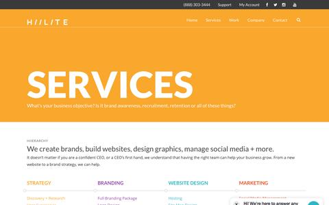 Screenshot of Services Page hiilite.com - Marketing, SEO, Branding, Web & Graphic Design Services | Hiilite - captured July 19, 2018