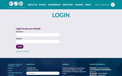 Screenshot of Login Page cwb.org.au - Login - Canberra Women in Business - captured Nov. 19, 2016