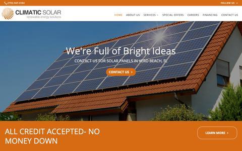 Screenshot of Home Page climaticsolar.com - Solar Company, Solar Products & Services | Vero Beach, FL - captured Nov. 5, 2018