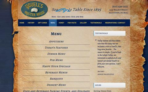 Screenshot of Menu Page youellsoysterhouse.com - Youell's Oyster House Menu | Seafood | Lehigh Valley PA - captured March 6, 2016