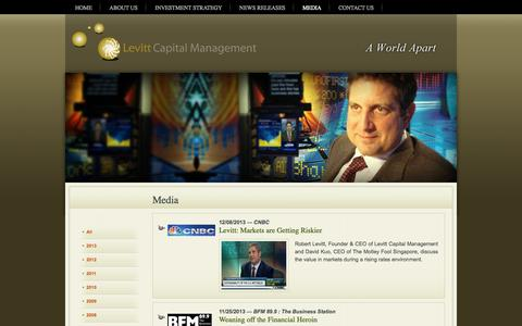 Screenshot of Press Page lcmadvisors.com - Levitt Capital Management – Boutique wealth management firm that specializes in designing and managing global portfolios – Boca Raton Florida  » Media - captured Oct. 2, 2014