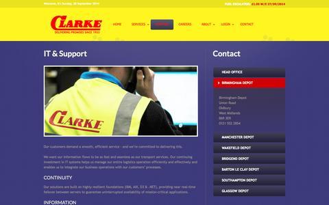 Screenshot of Support Page clarketransport.co.uk - Clarke Transport - support - captured Sept. 29, 2014