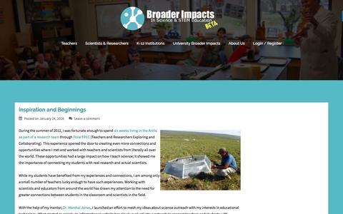Screenshot of Blog makebroaderimpacts.org - Broader Impacts Blog - Broader Impacts - captured July 22, 2016