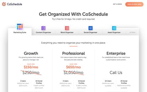Screenshot of Pricing Page coschedule.com - Pricing - CoSchedule - captured June 26, 2019