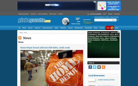 Screenshot of Press Page globegazette.com - News - captured Sept. 19, 2014