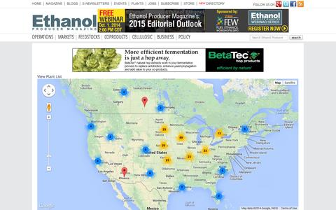 Screenshot of Maps & Directions Page ethanolproducer.com - Ethanol Producer Magazine – The Latest News and Data About Ethanol Production - captured Sept. 23, 2014