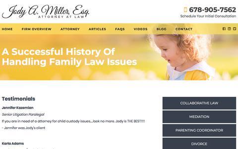 Screenshot of Testimonials Page lawjamesq.com - Testimonials | Jody A. Miller | Atlanta, Georgia - captured Jan. 28, 2018