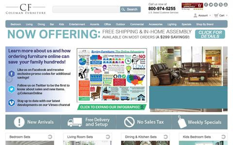 Screenshot of Home Page colemanfurniture.com - Ashley Furniture, Coaster Furniture, The Best Furniture Brands for Less | Coleman Furniture - captured Sept. 24, 2014