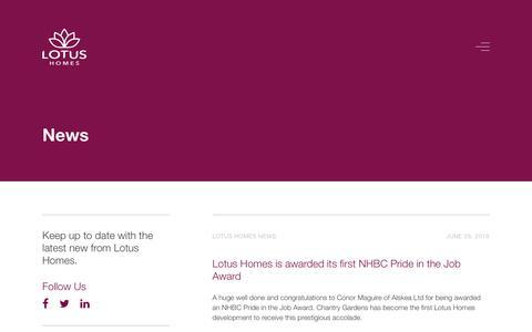 Screenshot of Press Page lotushomes.com - News – Lotus Homes - captured July 23, 2018