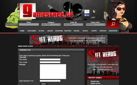 Screenshot of Contact Page gamesfree.ca - Contact Us on Gamesfree.ca - captured Sept. 24, 2014
