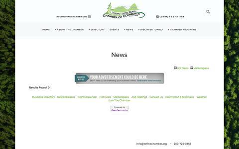 Screenshot of Press Page tofinochamber.org - News - — Tofino Chamber of Commerce - captured Dec. 2, 2016