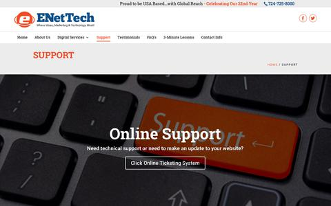 Screenshot of Support Page enettechnologies.com - Support - ENet Technologies - captured Nov. 4, 2018