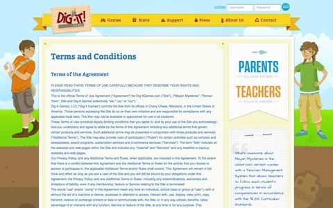 Screenshot of Terms Page dig-itgames.com - Dig It Games : Terms and Conditions - captured Sept. 30, 2014
