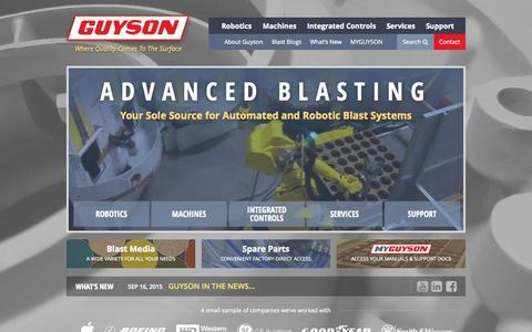 Screenshot of Home Page guyson.com - Home | Guyson - captured Sept. 17, 2015