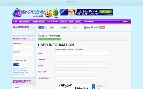 Screenshot of Signup Page ilovebingo.co.uk - Register New User - captured Oct. 6, 2014