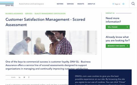 Screenshot of Support Page dnvgl.com - Customer Satisfaction management - Scored assessment - from DNV GL - Business Assurance  - DNV GL - captured Dec. 7, 2019