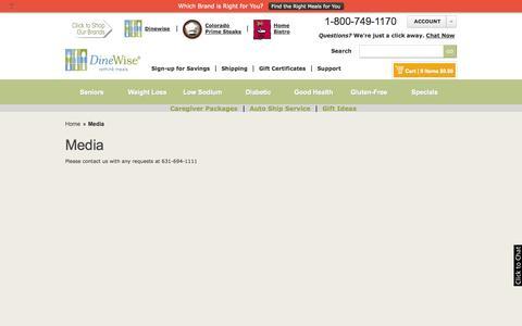 Screenshot of Press Page dinewise.com - Media | DineWise - captured Sept. 23, 2014
